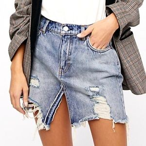NWT Free People Relaxed & Destroyed Denim Skirt